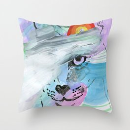 Coy Cat with Rainbow Throw Pillow