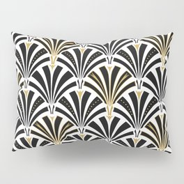 Art Deco Fan Pattern, Black and White Pillow Sham