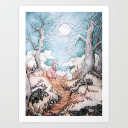The Tale of Cat and Fawn Art Print