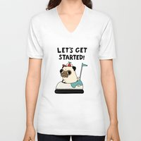 pug V-neck T-shirts featuring PUG! by Jarvis Glasses