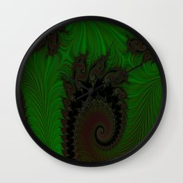 Feathered Friends In Green Wall Clock