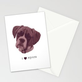 I love my dog - Boxer, pink Stationery Cards