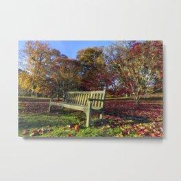 Sunny Autumn Bench Metal Print