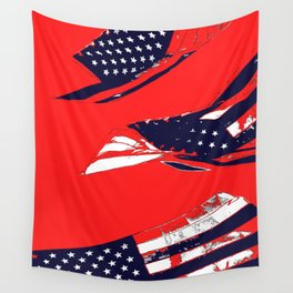 Dynamic Pop Painting of a waving American Flag Wall Tapestry