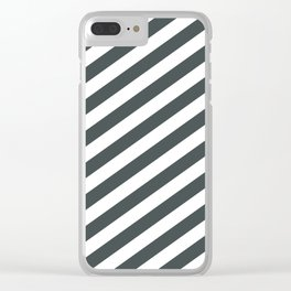 PPG Night Watch Pewter Green & White Stripes Fat Angled Lines - Stripe Pattern Clear iPhone Case