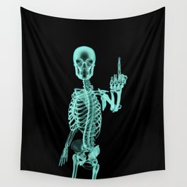X-ray Bird / X-rayed skeleton demonstrating international hand gesture Wall Tapestry