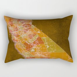 California Los Angeles old vintage map. Orange vintage poster for office decoration Rectangular Pillow