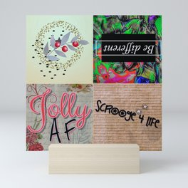 Holiday and modern art in collage form Mini Art Print