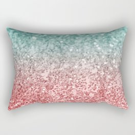 Summer Vibes Glitter #2 #coral #mint #shiny #decor #society6 Rectangular Pillow