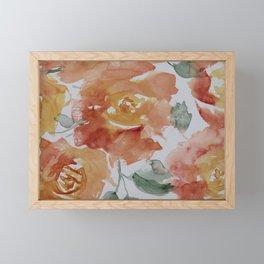 Roses Watercolor Painting Framed Mini Art Print