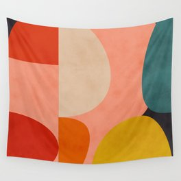 geometry shape mid century organic blush curry teal Wall Tapestry