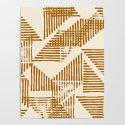 Stripe Triangle Block Print Geometric Pattern in Orange by beckybailey1