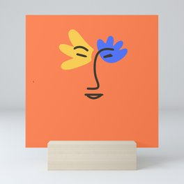 Yellow and blue portrait Mini Art Print