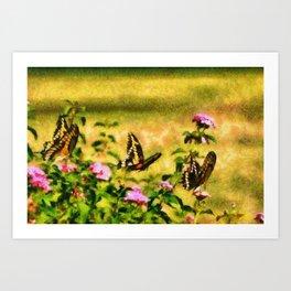 Three Giant Swallowtails - Monet Style Art Print