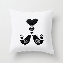 Scandinavian Love Birds Throw Pillow