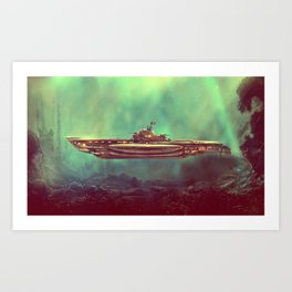 Golden Pirate Submarine Art Print