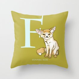 F is for Fennec Fox: Under Appreciated Animals™, ABC nursery kids room decor lime unusual animals Throw Pillow