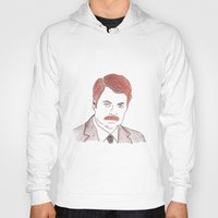 ron swanson Hoodies featuring Ron Swanson  by nicoleskine