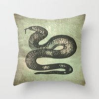 snake Throw Pillows featuring Snake by LoRo  Art & Pictures