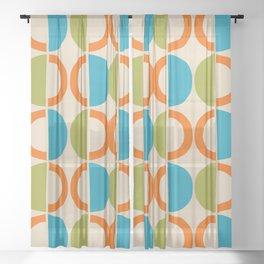 Mid Century Modern Half Circle Pattern 549 Beige Orange Cyan and Olive Sheer Curtain