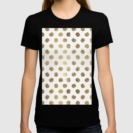 Luxurious faux gold leaf polka dots brushstrokes T-shirt