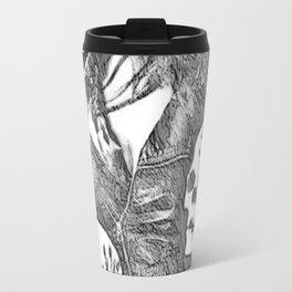 Inner Demons - black and white surreal, sexy demonic girl, woman posing with skulls abstract artwork Travel Mug