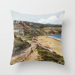 Aquarelle St Ives Cornwall Carbis Bay  Throw Pillow