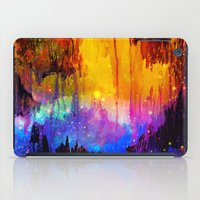 lindsay lohan iPad Cases featuring CASTLES IN THE MIST Magical Abstract Acrylic Painting Mixed Media Fantasy Cosmic Colorful Galaxy  by EbiEmporium