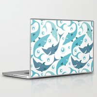 sharks Laptop & iPad Skins featuring Sharks by Julia Badeeva