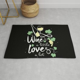 Wine a little love a lot humorous wine festival saying for wine drinkers gift Rug