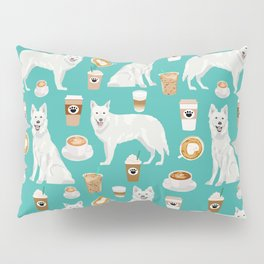 White Shepherd dog breed White German Shepherd coffee coffees pet friendly turquoise Pillow Sham
