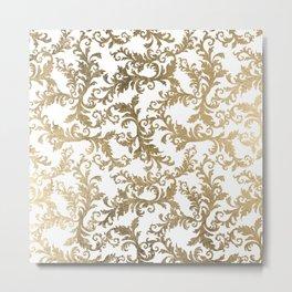 Vintage faux gold elegant floral damask Metal Print