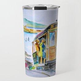 San Francisco Cable Car watercolor Travel Mug