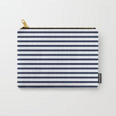 Indigo Navy Blue Nautical Stripes Carry-All Pouch