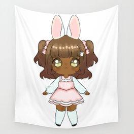 Easter Bunny Chibi Girl (Dark Skin Tone) Wall Tapestry