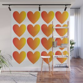 Love Hearts Red Through Yellow Ombre Wall Mural