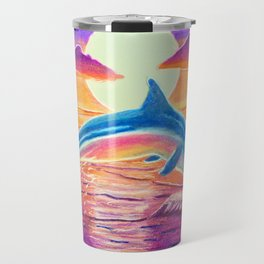 Dolphin at sunset Travel Mug