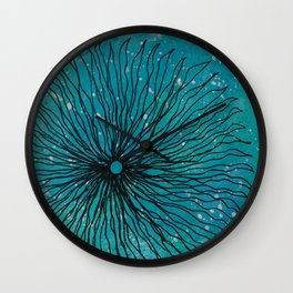 Flower on turquoise Wall Clock