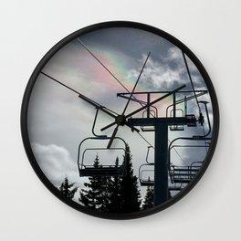 Ski Lift Rainbow Sky \\ The Mountain Sun Rays \\ Spring Skiing Colorado Winter Snow Sports Wall Clock