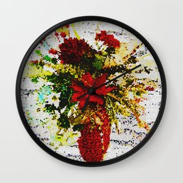 POINSETTIAS FLORAL ARRANGEMENT Wall Clock