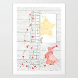Holiday Star at the Window Art Print