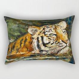 Swimming Tiger Rectangular Pillow
