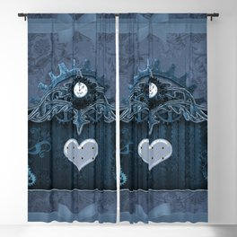 A touch of steampunk with elegant heart Blackout Curtain