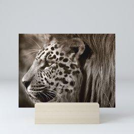 Lion Leopard Jaguar Cat Head Face Animal Fantasy Mini Art Print
