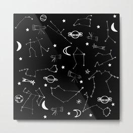Astrology Pattern Black #homedecor Metal Print