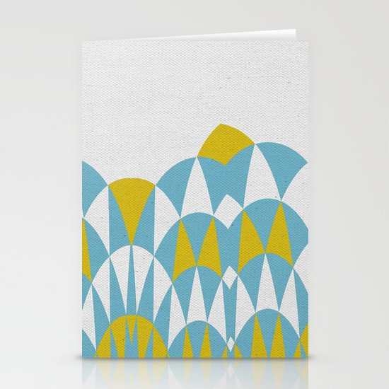 Modern Day Arches Blue and Yellow Stationery Cards