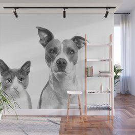 Cute Kitty Cat And Puppy Portrait Art Print, Cat And Dog Animal Nursery, Baby Animals Wall Art Decor Wall Mural