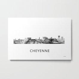 Cheyenne Wyoming Skyline WB BW Metal Print