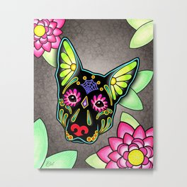 German Shepherd in Black - Day of the Dead Sugar Skull Dog Metal Print