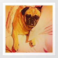 PUG LOVE: Will you bring me breakfast in bed? Art Print